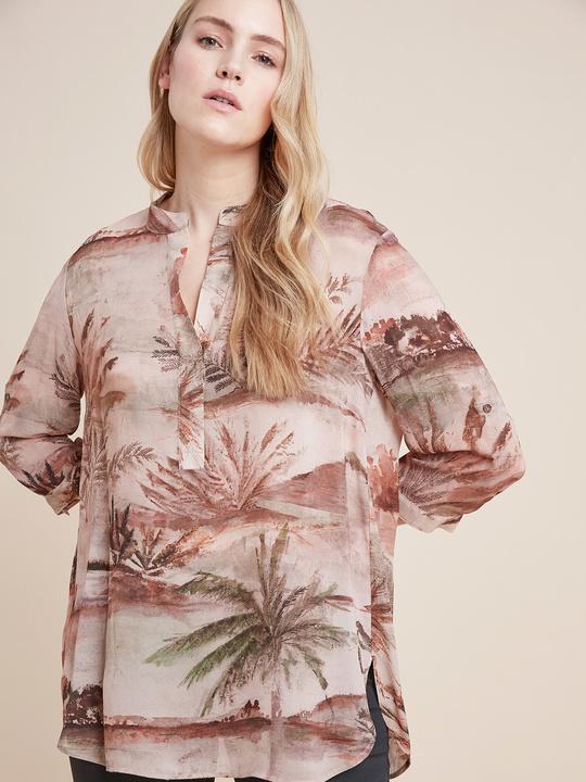 Elenamiro: Blusa in viscosa stampata Rosa_1