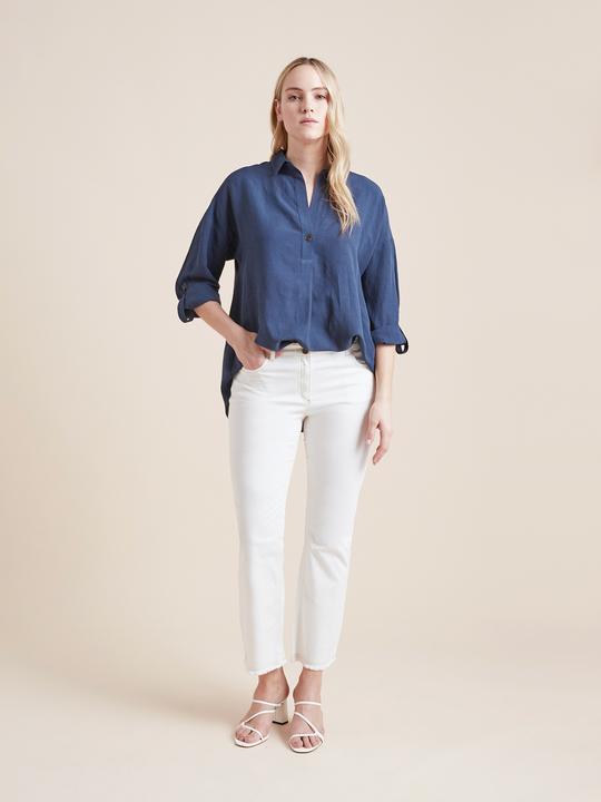 Elenamiro: Pantaloni cinque tasche in drill Bianco_1
