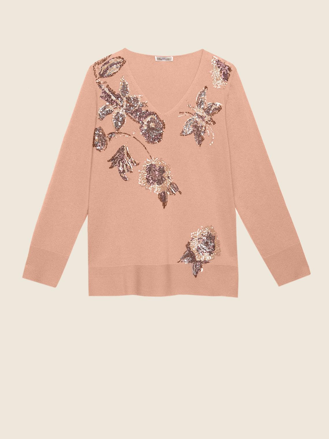 quite nice f32f1 18920 Maglia in lana e cashmere con ricami - ElenaMiro.com